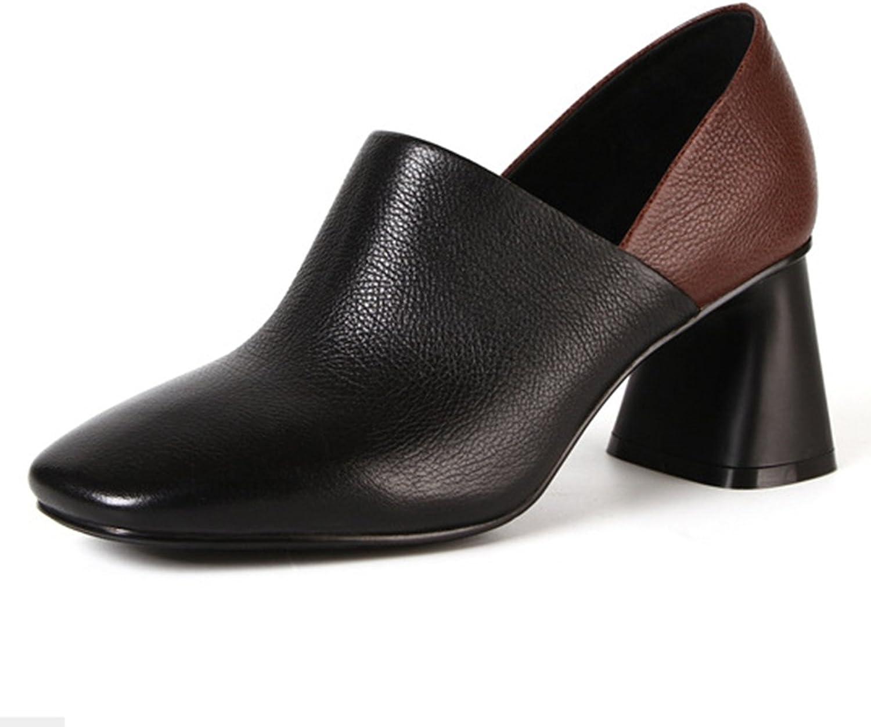 FOXSENSE Classic Closed Square Toe 2.6 inch Block Heel Dress shoes for Women