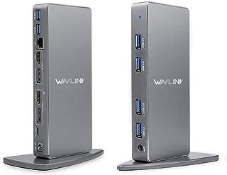 Wavlink USB C Ultra 5K HD Universal Docking Station with Dual 4K Multiple Video Display Vertical Aluminum Design Support f...