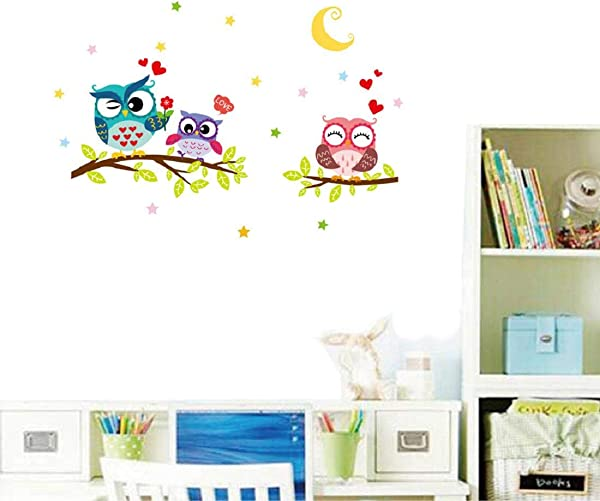 Nicolarisin Wall Sticker Removable Waterproof Cartoon Animal Owl Wall Sticker Durable For Home Walls Ceiling Boys Room Kids Bedroom Nursery School