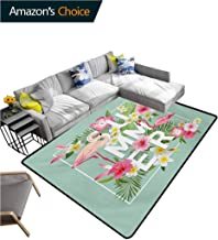 Floral moroccan Area Rug for Girls Room, Tropical Flower with Flamingos Retro Wedding Romance Petals Graphic Artwork Fashionable High Class Living Dinning Room, (5'x 8') Mint Green Pink