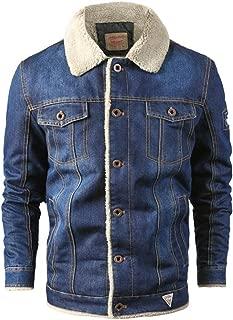 Plus Size Men's Casual Big Size Autumn Winter Long Sleeve Plush Denim Jacket Warm Coat Outwear
