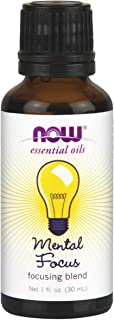 NOW Essential Oils, Mental Focus Oil Blend, Centering Aromatherapy Scent, Blend of Pure Essential Oils, Vegan, 1-Ounce