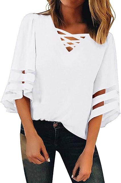 Winkey Blusa de malla con cuello de pico para mujer – Camisa suelta casual de 3/4 de manga para mujer.