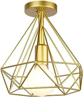 STOEX Plafonnier industrielle Retro 25cm en forme Diamant Suspension Luminaire pour Salle à Manger,Bar,Chambre (Or)