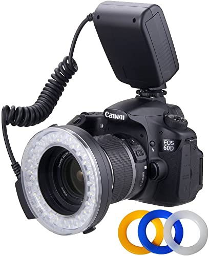 high quality Polaroid PLMRFS 48 Macro LED Ring Flash outlet online sale with 4 Diffusers for Select discount Digital Cameras(Clear, Warming, Blue, White) online