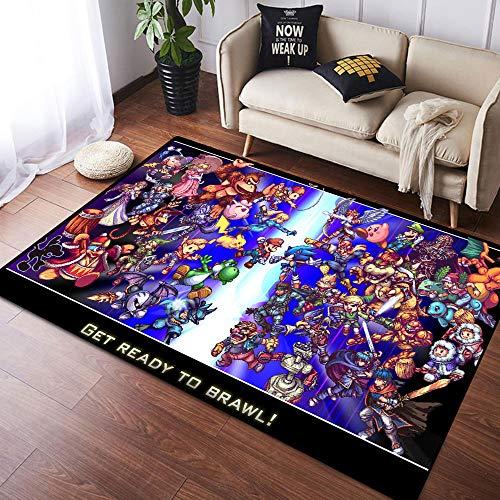 Coobal Super Mar-io Odyssey - Alfombra grande para el suelo de yoga, para niños, sala de juegos, dormitorio, 3 x 5 pies (90 x 150 cm)