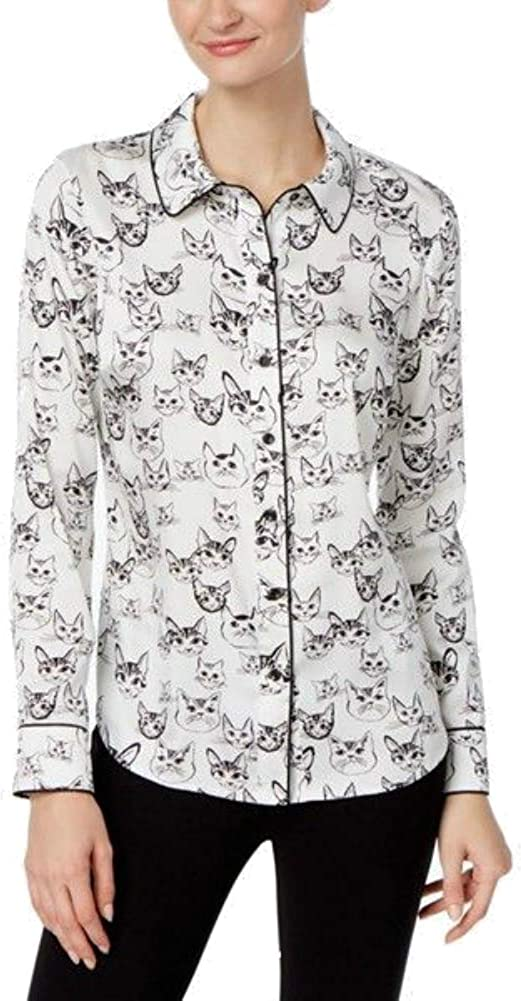 Inc International Concepts Cat-Print Blouse, Size 12