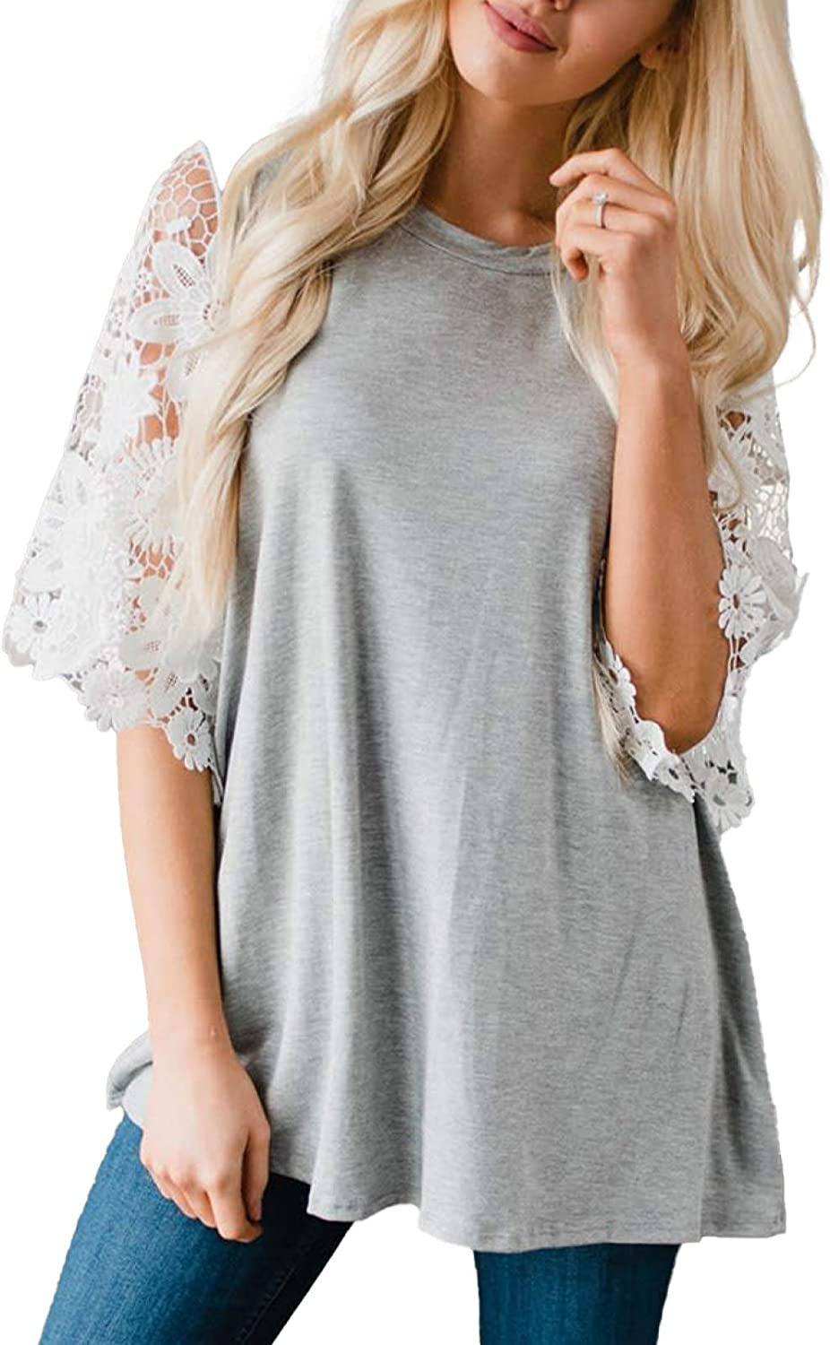 Ecrocoo Women's Casual Summer Tops Crew Neck Tees Lace Loose Short Sleeve Blouse T-Shirt Solid Color Flattering Shirt