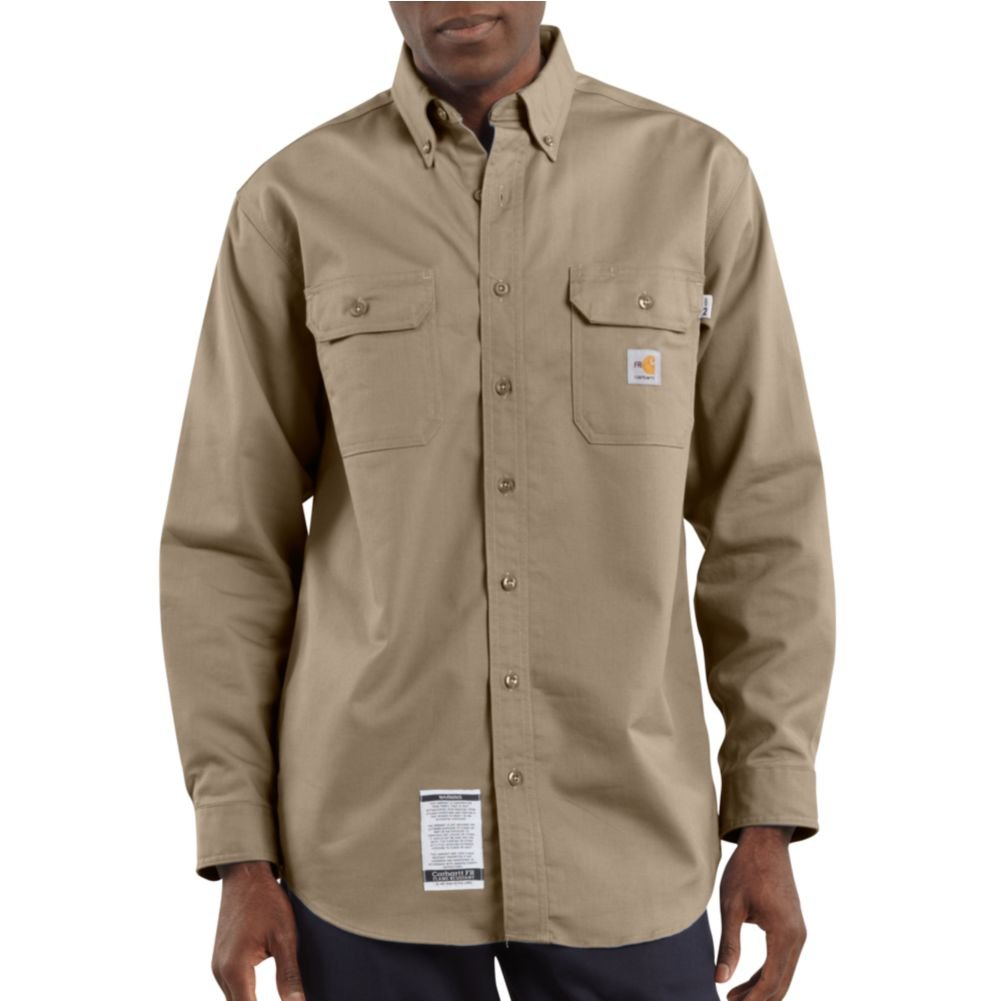 Carhartt Shirts: Men's Twill Flame-Resistant Shirt FRS160KHI - Khaki - 4X Large Tall