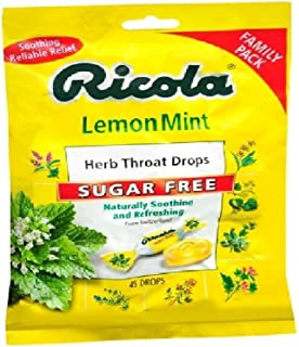 Ricola Herb Throat Drops, Sugar Free, Lemon Mint 45 ea(PACK OF 2)