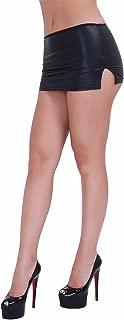 Women's Wetlook Black Mini Skirt with G-String