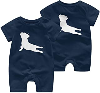 Ives Jean Baby ärmellose Bodysuits Französische Bulldogge Yoga Baby Mädchen Kurzarm Strampler Overall Bio-Overall 0-24 Monate