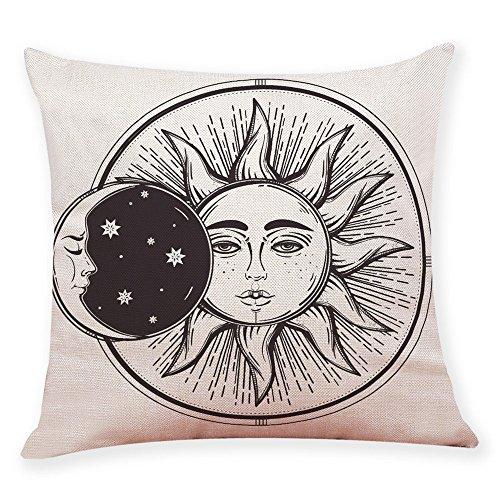 xxysm decoración del hogar funda de cojín Sol Luna patrón manta funda de almohada fundas de almohada de para coche (negro)