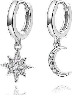 Orecchini a cerchio Huggie Star Moon, orecchini in argento sterling placcato oro 14k piccoli cz blu per donna o ragazza
