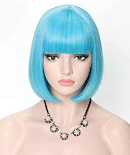 COSYCODE 12 inch Light Blue Short Bob Wig with Bangs Synthetic Cosplay Wigs for Halloween Party