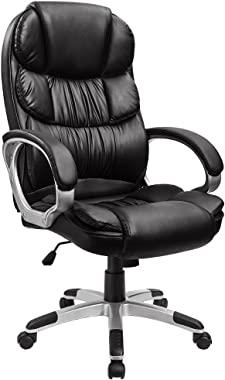 Furmax High Back Office Chair Adjustable Ergonomic Desk Chair with Padded Armrests,Executive PU Leather Swivel Task Chair wit