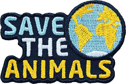 2 x Tierschutz Abzeichen gesticket 59 x 39 mm / Save the Animals / Schutz der Tiere Tierwohl Artenschutz Biodiversität Wildtier Haustier Nutztier Planet / Aufnäher Aufbügler Flicken Sticker Patch