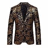 Longra-Uomo Giacca Elegante Vestito da Uomo Slim Fit Cappotto Giacca Blazer in Paillettes Uomo Giacca Costume Festivo Vestito da Festa Top Outwear Oro Rosso Argento (M, Giallo#2)