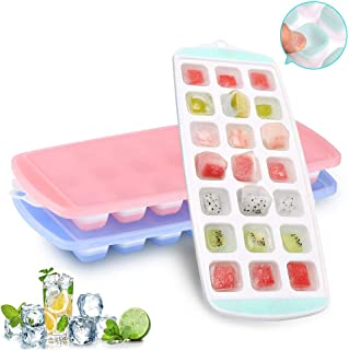 Ice Cube Trays, Ice Tray Food Grade Flexible Silicone Ice Cube Tray Molds with Lids, Easy Release Ice Trays Make 63-Ice Cube, Stackable Dishwasher Safe, Non-toxic, BPA Free (2019 Newest/3 Packs)