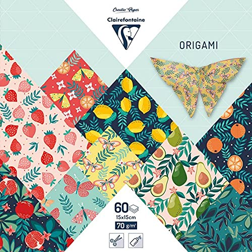 Clairefontaine 95357C – 1 funda origami 60 hojas, 15 x 15 cm, 70 g, motivos surtidos (30 diseños x 2 hojas), jardín afrutado