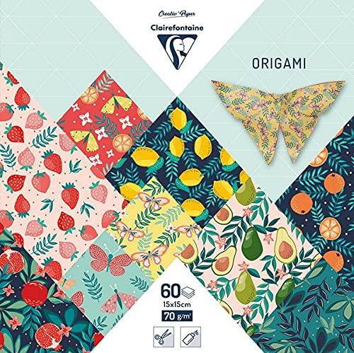 Clairefontaine 95357C - Astuccio origami, 60 fogli, 15 x 15 cm, 70 g, motivi assortiti (30 motivi x 2 fogli), motivo fruttato