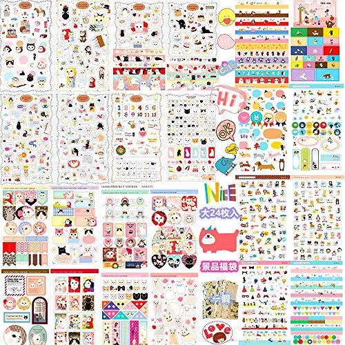 Ganda 可愛いシール福袋,可愛いステッカー福袋,可愛い手帳シール、ステッカー;可愛い模様と図案と動物と猫と表情と手描きと祝福と英語と数字;日記、手帳、手芸、手紙、カード、カレンダー、封筒、携帯電話、メモ、壁、冷蔵庫、ペット盆の装飾用