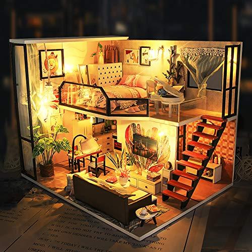 LEMESO ドールハウスキット 手作りキットセット ミニチュアコレクション「時の恋人」DIY木製 アクリルケース付属(WA0403)