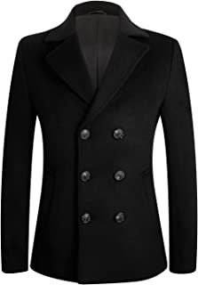 Men's Stylish Slim Fit Wool Pea Coat Winter Jacket