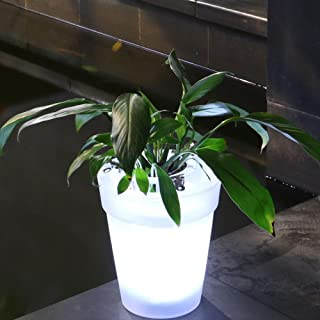 Illuminated Plant Pot Flower Pot with LED Lighting Solar Flower Transparent Flower Pot Light Lamp Decorative Light Modern Planter Vase Landscape for Desk Garden Yard(White)