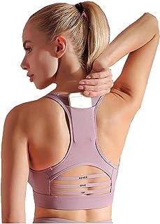Flyself Women's Sports Bra Phone Pocket Racerback Padded Mid Impact Seamless Yoga Bra Support for Running Jogging Fitness ...