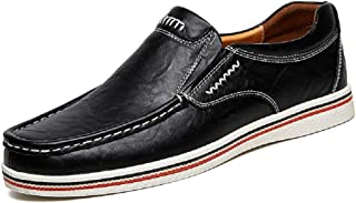 Fanshu Men Leather Casual Slip on Loafers Breathable Driving Dress Shoes Fashion Leisure Footwear Clearance Sneakers