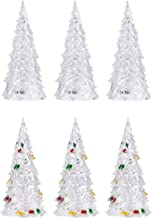 TOYANDONA 6Pcs Acrylic Christmas Tree LED Color Changing Holiday Tree Night Light Battery Operated Dining Table Centerpiec...