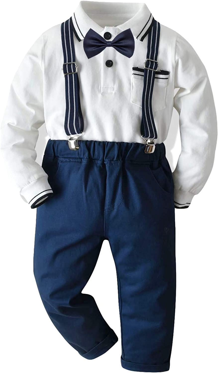 Haokaini Baby Boy Gentleman Outfit Child Boy Fashion Suit Clothes Long Sleeve Bow Tie Shirt Suspenders Long Pants Clothes Set