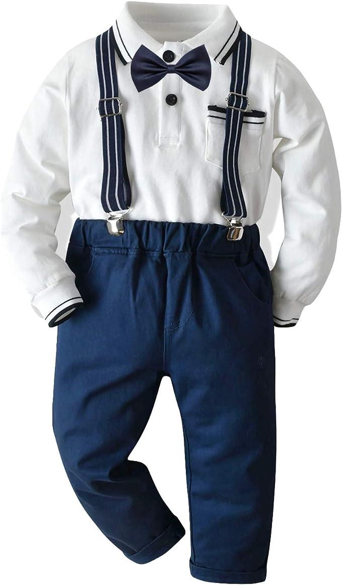 Niño Niño Moda Traje Ropa Manga Larga Pajarita Camisa + ...
