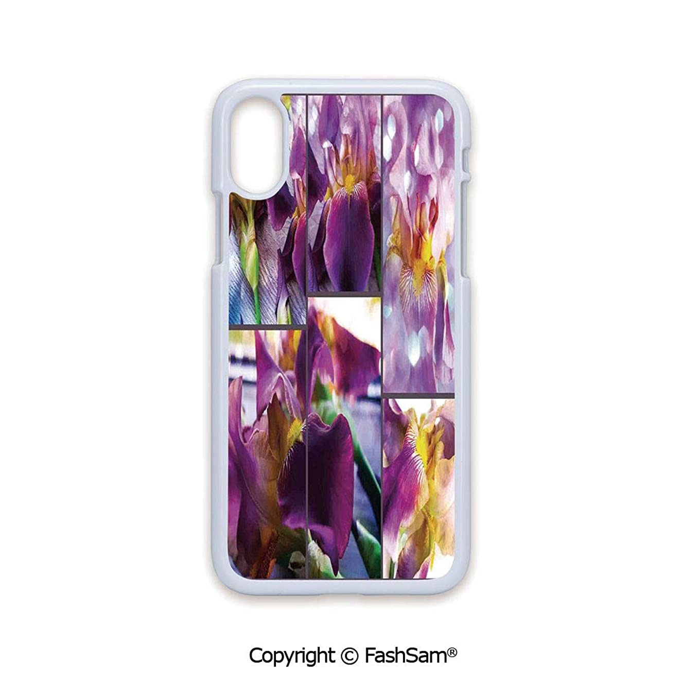 Plastic Rigid Mobile Phone case Compatible with iPhone X Black Edge Blooming Iris Flowers Orchids on Rustic Wood Natural Floral Beauty Romantic Image 2D Print Hard Plastic Phone Case