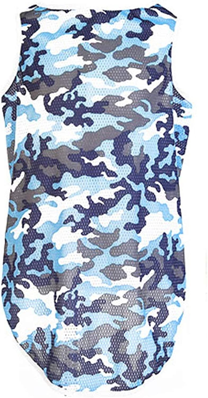 LSLMCS Pet Supplies Retriever Dog Clothes Summer Pet Medium Large Dog Clothes TShirt Dog Summer Thin Section Vest Pet Cooling Vest,bluee, Green,(XS7XL ) (color   Green, Size   S)