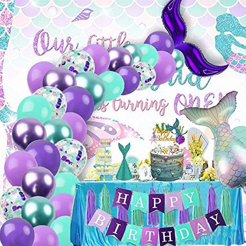 Finypa Mermaid Party Decorations for Girls Mermaid Party Supplies Mermaid Banner Mermaid Foil Balloons Latex Garland & Arch Kit Paper Tassel Cake Toppers Under The Sea Blue & Purple Nautical Decor
