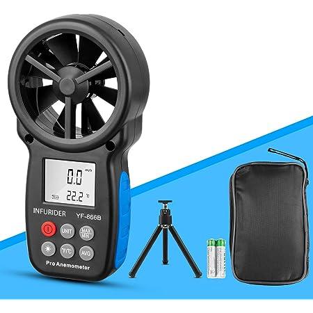 Windmesser Hand Digital Lcd Wind Speed Meter Guages Air Flow Geschwindigkeit Mit Hintergrundbeleuchtung Messung Thermometer Für Windsurfen Segeln Angeln Etc Sport Freizeit