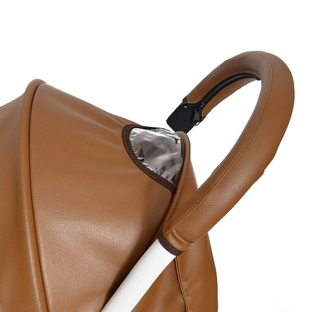 MINILUJIA Removable Zipper Baby Stroller PU Leather Bumper Handle Sleeve Dust-Proof Cover Armrest Bumper Protect Case (Brown),20