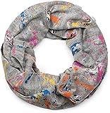 styleBREAKER Loop Schal mit Splat Style Farbklecks Muster im Used Look, Schlauchschal, Tuch, Unisex 01017050, Farbe:Weiß