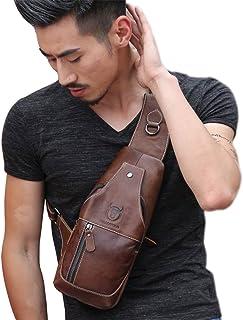 Men's Genuine Leather Sling Bags Chest Shoulder Bag Crossbody Backpack Travel Daypack