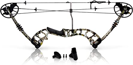Sharp Eye Camouflage Compound Bow - 320 FPS Hunting Camo Archery Gear - Fiberglass Limb, Metal Riser, 4 String Silencers, ...