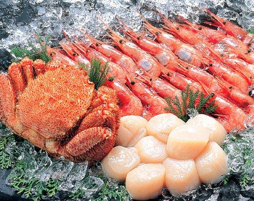 毛がに・帆立・えびセット 北海道産毛蟹・ホタテ、ロシア産甘海老使用 美味しい毛ガニ、甘エビと、新鮮なほたてを急速冷凍。