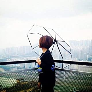 Haihuic Compact Travel Umbrella, Windproof, Clear Reinforced Canopy, Ergonomic Handle, Auto Open/Close, Transparent Automatic Foldable Umbrella