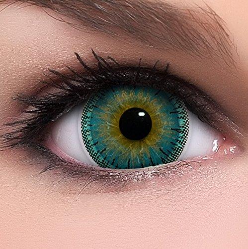 Circle Lenses blaue Dolly Blue ohne Stärke + Behälter I 15mm I weich I 3 Monate anwendbar