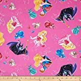 Springs Creative Products Disney Sleeping Beauty with Film Toss Fuchsia Fabric By The Yard