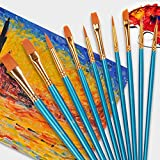 ペイント ブラシ アクリル筆 油絵筆 水彩筆 画筆 10本ブルー