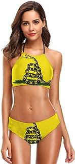 Dont Tread On Me Gadsden Flag Snake Women's Two Pieces Bikini Set Halter Swimsuits Bathing Suit Swimwear Soft Cup