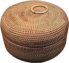 SCDZS Jesienny rattanowy pleciony koszyk na owoce okrągły organizer pudełko suszone owoce cukierki przekąski deser pojemni...
