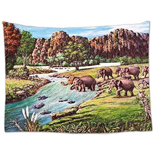 KHKJ Elefant Tapisserie Wandbehang Tier Wand Teppich Twin Hippie Tapisserie Bohemian Hippy Home Decor Tagesdecke Blatt A21 95x73cm